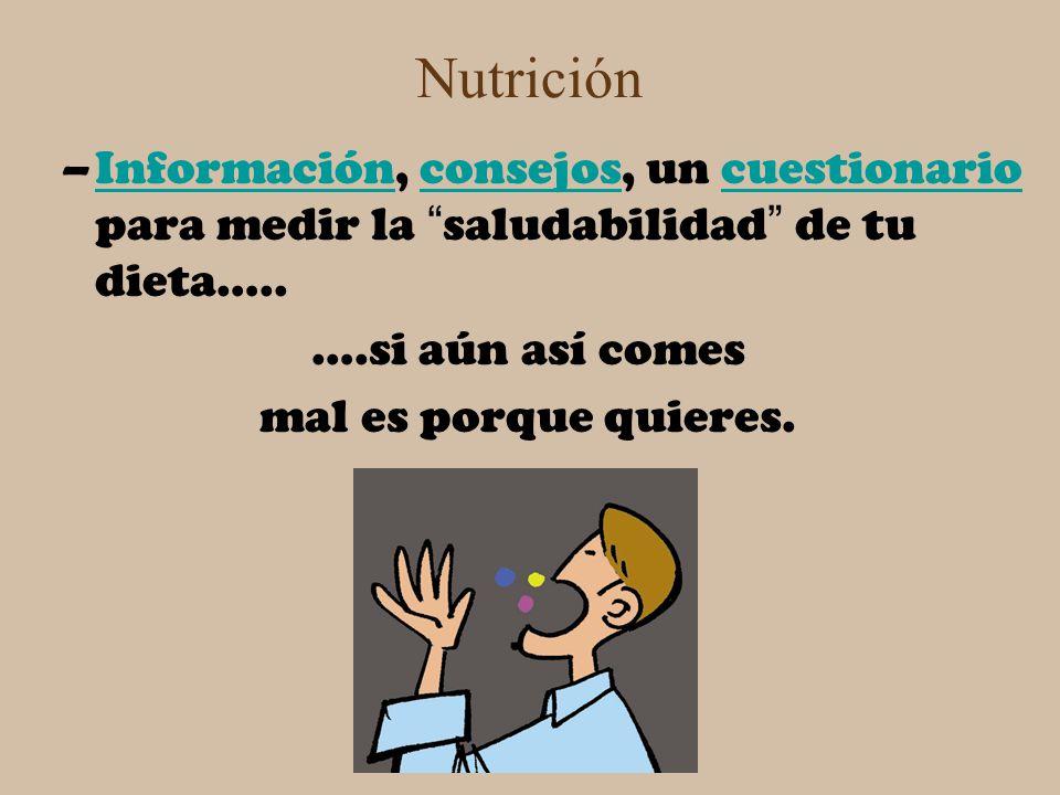 Nutrición –Información, consejos, un cuestionario para medir la saludabilidad de tu dieta…..Informaciónconsejoscuestionario ….si aún así comes mal es