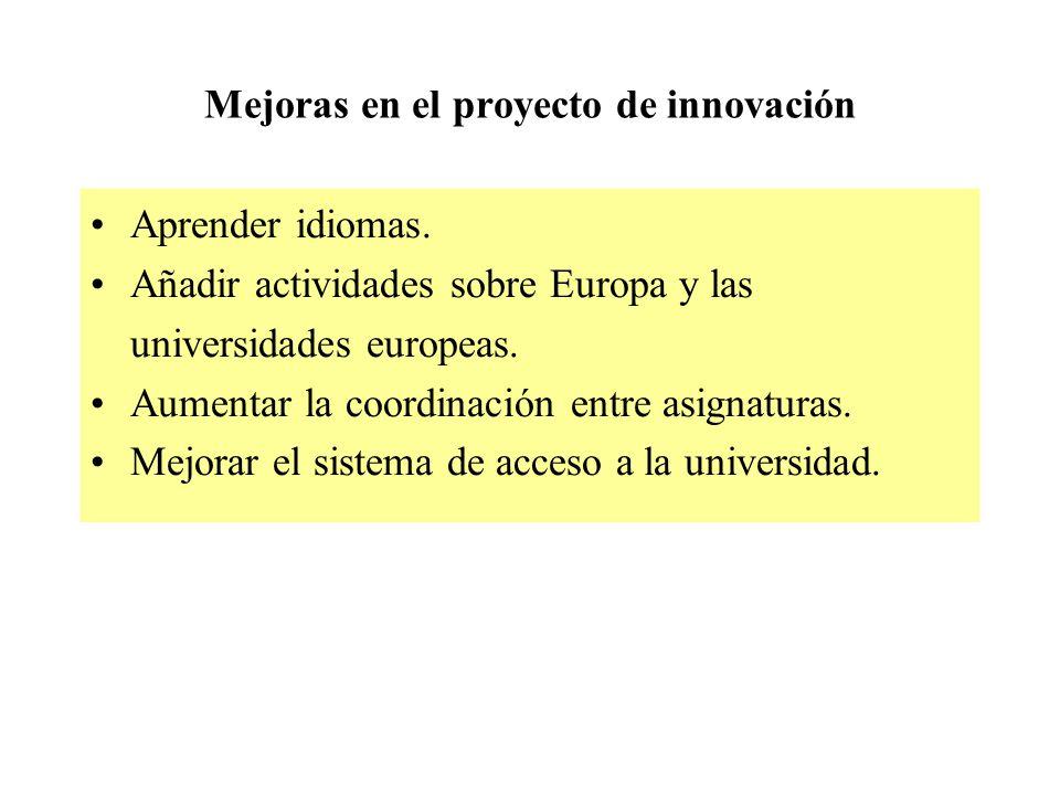 Mejoras en el proyecto de innovación Aprender idiomas.