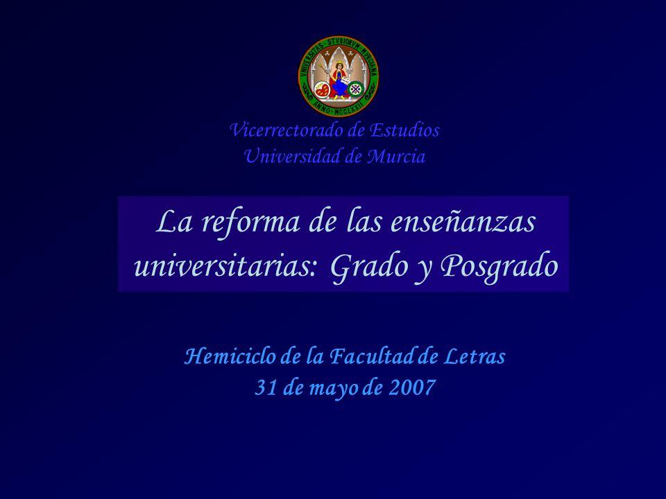 Hemiciclo de la Facultad de Letras 31 de mayo de 2007 Vicerrectorado de Estudios Universidad de Murcia La reforma de las enseñanzas universitarias: Grado y Posgrado