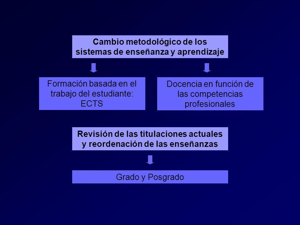Cambio metodológico de los sistemas de enseñanza y aprendizaje Formación basada en el trabajo del estudiante: ECTS Docencia en función de las competencias profesionales Revisión de las titulaciones actuales y reordenación de las enseñanzas Grado y Posgrado