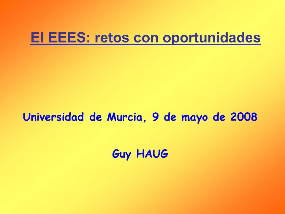 El EEES: retos con oportunidades Universidad de Murcia, 9 de mayo de 2008 Guy HAUG