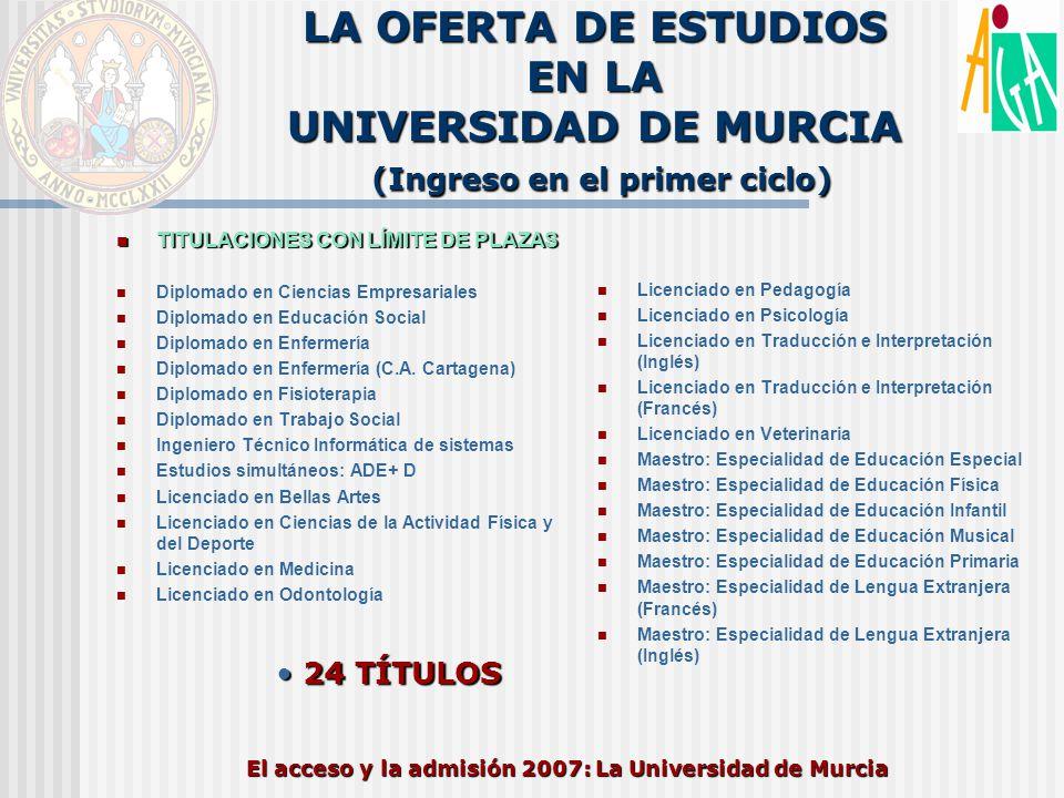 El acceso y la admisión 2007: La Universidad de Murcia LA OFERTA DE ESTUDIOS EN LA UNIVERSIDAD DE MURCIA (Ingreso en el primer ciclo) TITULACIONES CON