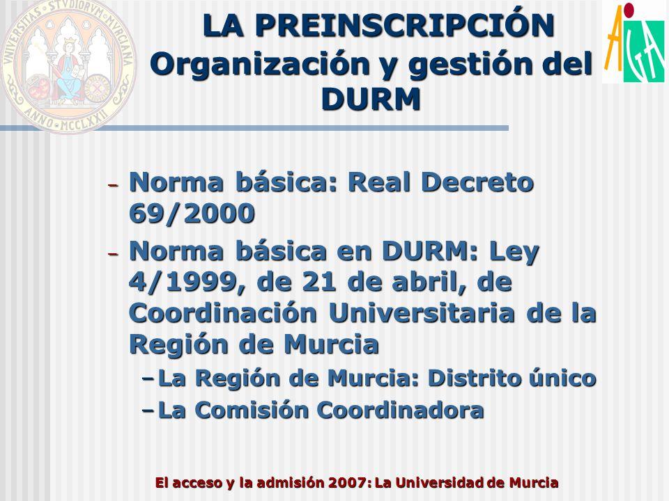 El acceso y la admisión 2007: La Universidad de Murcia LA PREINSCRIPCIÓN Organización y gestión del DURM – Norma básica: Real Decreto 69/2000 – Norma