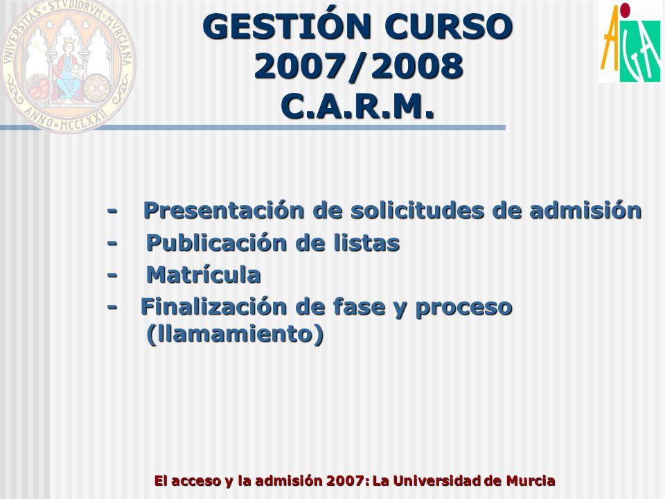 El acceso y la admisión 2007: La Universidad de Murcia GESTIÓN CURSO 2007/2008 C.A.R.M. - Presentación de solicitudes de admisión -Publicación de list