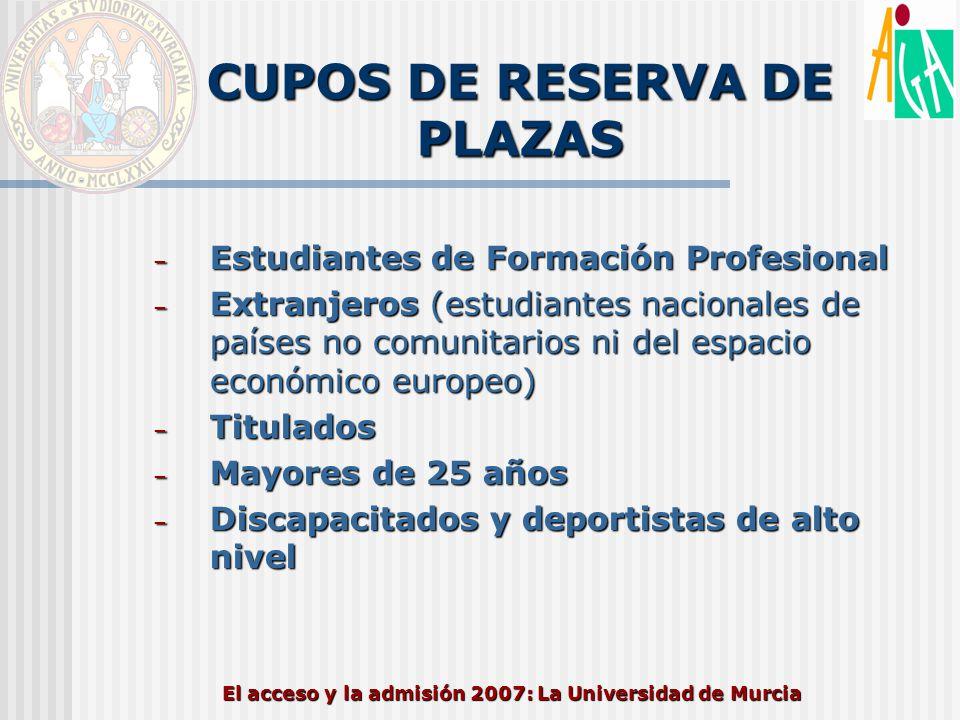 El acceso y la admisión 2007: La Universidad de Murcia CUPOS DE RESERVA DE PLAZAS – Estudiantes de Formación Profesional – Extranjeros (estudiantes na