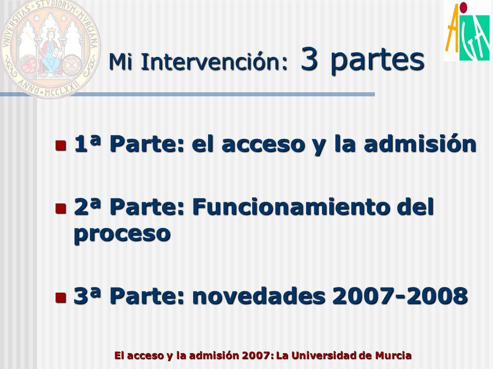 El acceso y la admisión 2007: La Universidad de Murcia PREINSCRIPCIÓN 2007/2008 FECHAS – Plazo de solicitudes: mínimo hasta 6 de julio* –CARM 28 de junio al 6 de julio – Publicación 1ª lista admitidos: antes del 23 de julio* –CARM 14 de julio – Plazo de matrícula 1ª lista admitidos: a partir del 23 de julio* –CARM 23 al 27 de julio –Acuerdo CCU 30/05/2006