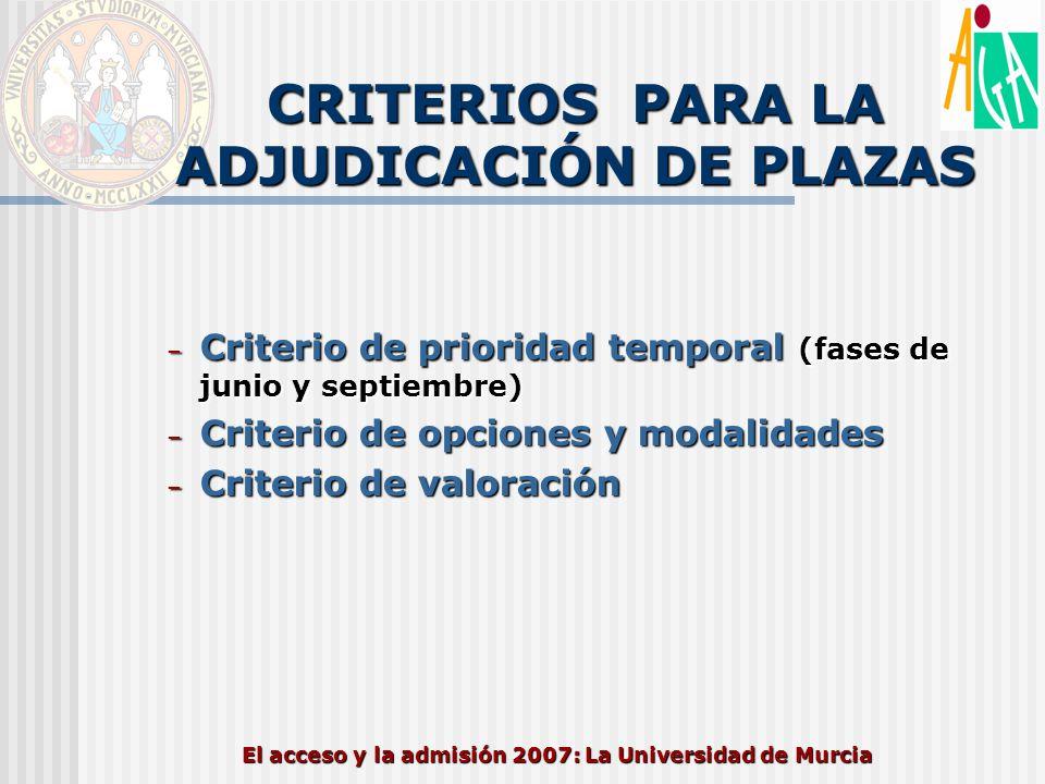 El acceso y la admisión 2007: La Universidad de Murcia CRITERIOS PARA LA ADJUDICACIÓN DE PLAZAS – Criterio de prioridad temporal (fases de junio y sep