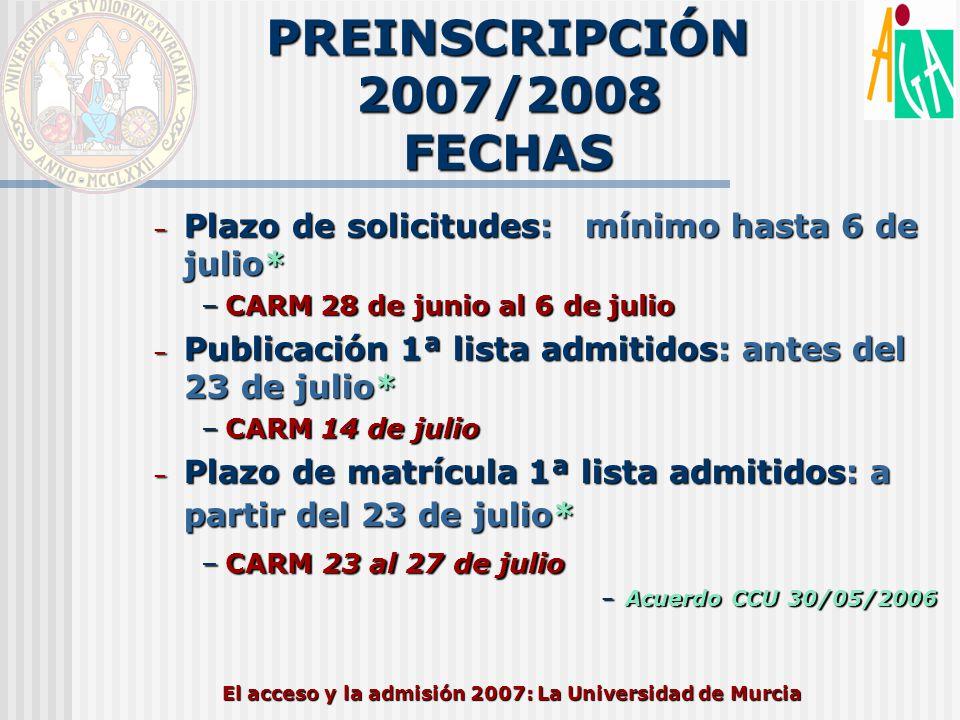 El acceso y la admisión 2007: La Universidad de Murcia PREINSCRIPCIÓN 2007/2008 FECHAS – Plazo de solicitudes: mínimo hasta 6 de julio* –CARM 28 de ju