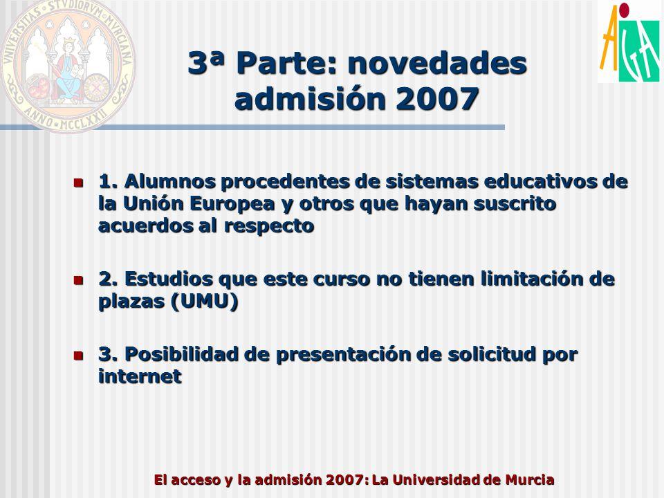 El acceso y la admisión 2007: La Universidad de Murcia 3ª Parte: novedades admisión 2007 1. Alumnos procedentes de sistemas educativos de la Unión Eur