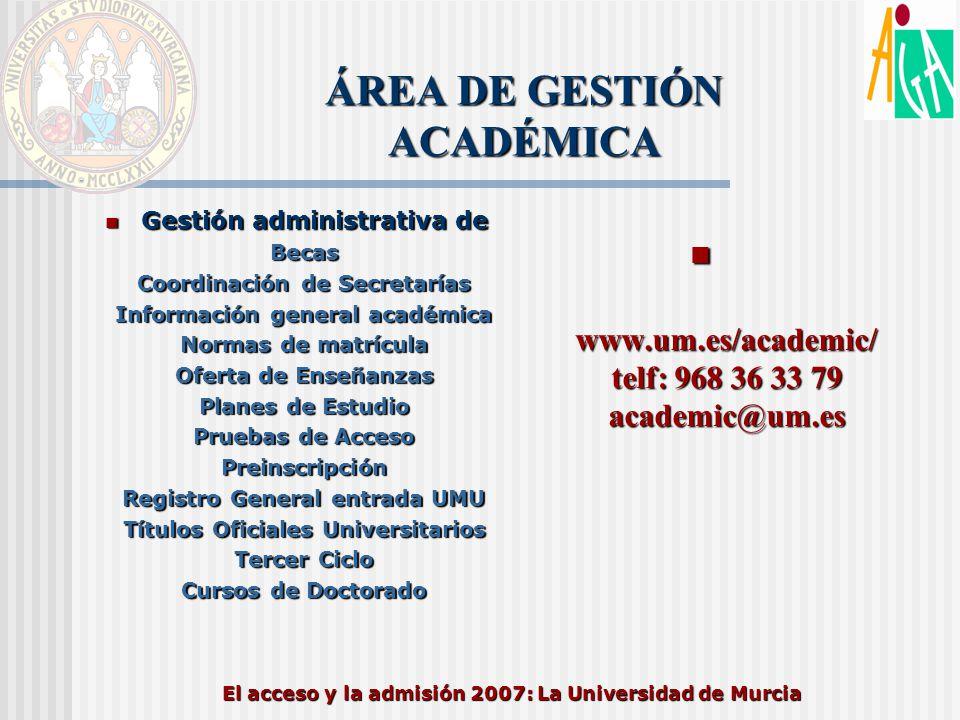 El acceso y la admisión 2007: La Universidad de Murcia ÁREA DE GESTIÓN ACADÉMICA www.um.es/academic/ telf: 968 36 33 79 academic@um.es www.um.es/acade