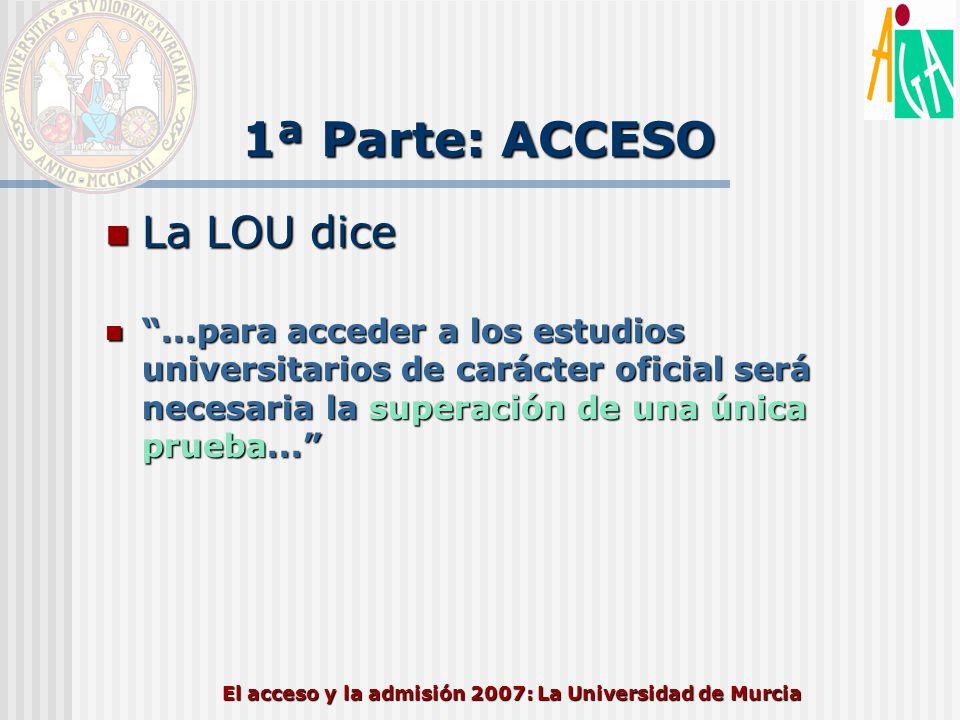 El acceso y la admisión 2007: La Universidad de Murcia 1ª Parte: ACCESO La LOU dice también La LOU dice también El Gobierno,…regulará las condiciones básicas para el acceso a la Universidad de los mayores de veinticinco años… El Gobierno,…regulará las condiciones básicas para el acceso a la Universidad de los mayores de veinticinco años… Para el acceso directo a la universidad de los titulados de Formación Profesional se estará a lo previsto en la Ley Orgánica 2/2006 de 3 de mayo, de Educación Para el acceso directo a la universidad de los titulados de Formación Profesional se estará a lo previsto en la Ley Orgánica 2/2006 de 3 de mayo, de Educación