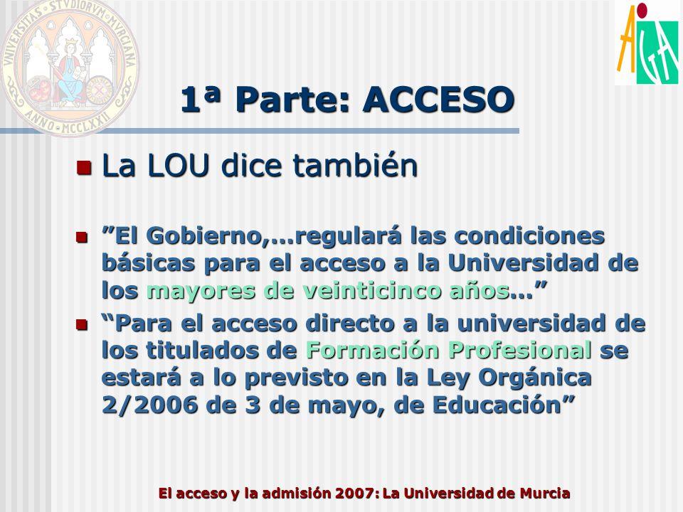 El acceso y la admisión 2007: La Universidad de Murcia 1ª Parte: ACCESO La LOU dice también La LOU dice también El Gobierno,…regulará las condiciones