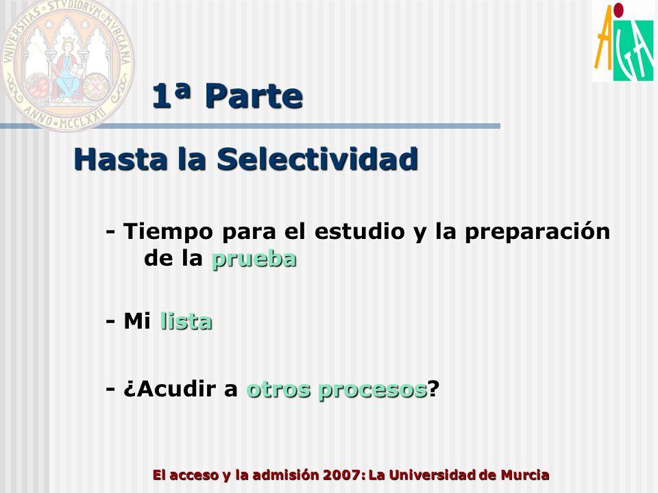 El acceso y la admisión 2007: La Universidad de Murcia 1ª Parte Después de la Selectividad Mi lista 1.