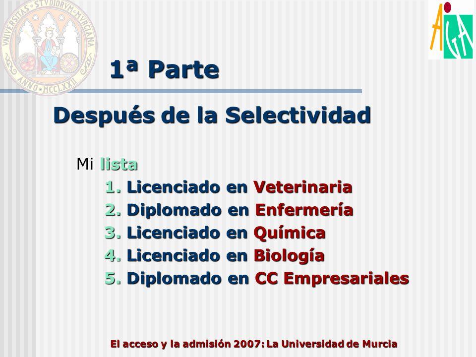 El acceso y la admisión 2007: La Universidad de Murcia 1ª Parte Después de la Selectividad Mi lista 1. Licenciado en Veterinaria 2. Diplomado en Enfer