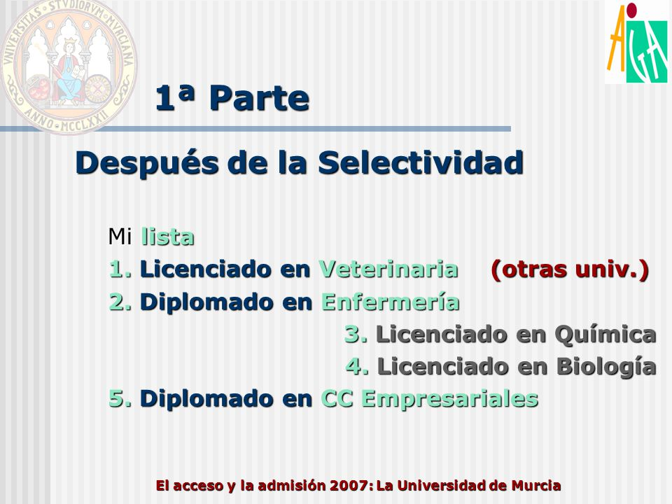 El acceso y la admisión 2007: La Universidad de Murcia 1ª Parte Después de la Selectividad Mi lista 1. Licenciado en Veterinaria (otras univ.) 2. Dipl