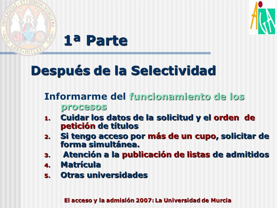 El acceso y la admisión 2007: La Universidad de Murcia 1ª Parte Después de la Selectividad funcionamiento de los procesos Informarme del funcionamient