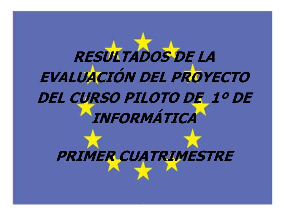 RESULTADOS DE LA EVALUACIÓN DEL PROYECTO DEL CURSO PILOTO DE 1º DE INFORMÁTICA PRIMER CUATRIMESTRE