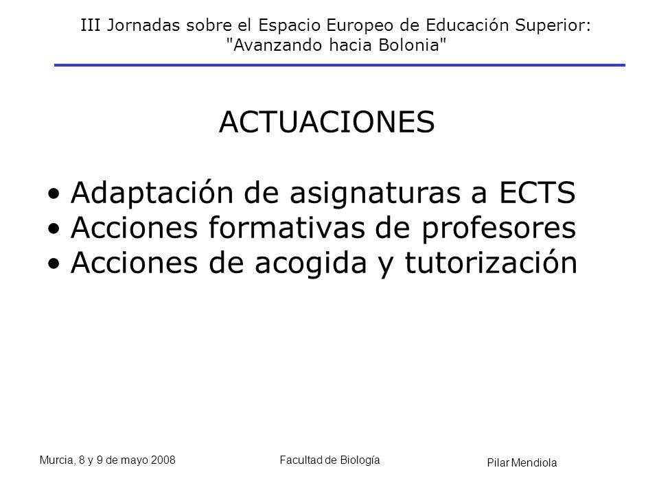 III Jornadas sobre el Espacio Europeo de Educación Superior: Avanzando hacia Bolonia Pilar Mendiola Murcia, 8 y 9 de mayo 2008Facultad de Biología ACTUACIONES Adaptación de asignaturas a ECTS Acciones formativas de profesores Acciones de acogida y tutorización