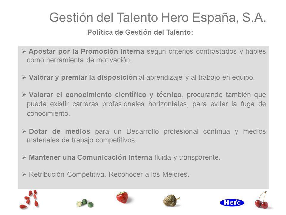 Gestión del Talento Hero España, S.A. Apostar por la Promoción interna según criterios contrastados y fiables como herramienta de motivación. Valorar