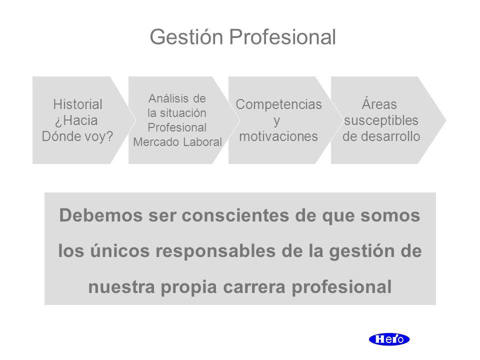 Gestión Profesional Debemos ser conscientes de que somos los únicos responsables de la gestión de nuestra propia carrera profesional Áreas susceptible