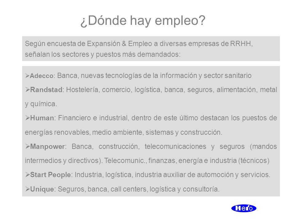 ¿Dónde hay empleo? Adecco: Banca, nuevas tecnologías de la información y sector sanitario Randstad: Hostelería, comercio, logística, banca, seguros, a