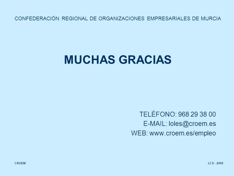 LCS - 2008CROEM MUCHAS GRACIAS TELÉFONO: 968 29 38 00 E-MAIL: loles@croem.es WEB: www.croem.es/empleo CONFEDERACIÓN REGIONAL DE ORGANIZACIONES EMPRESARIALES DE MURCIA