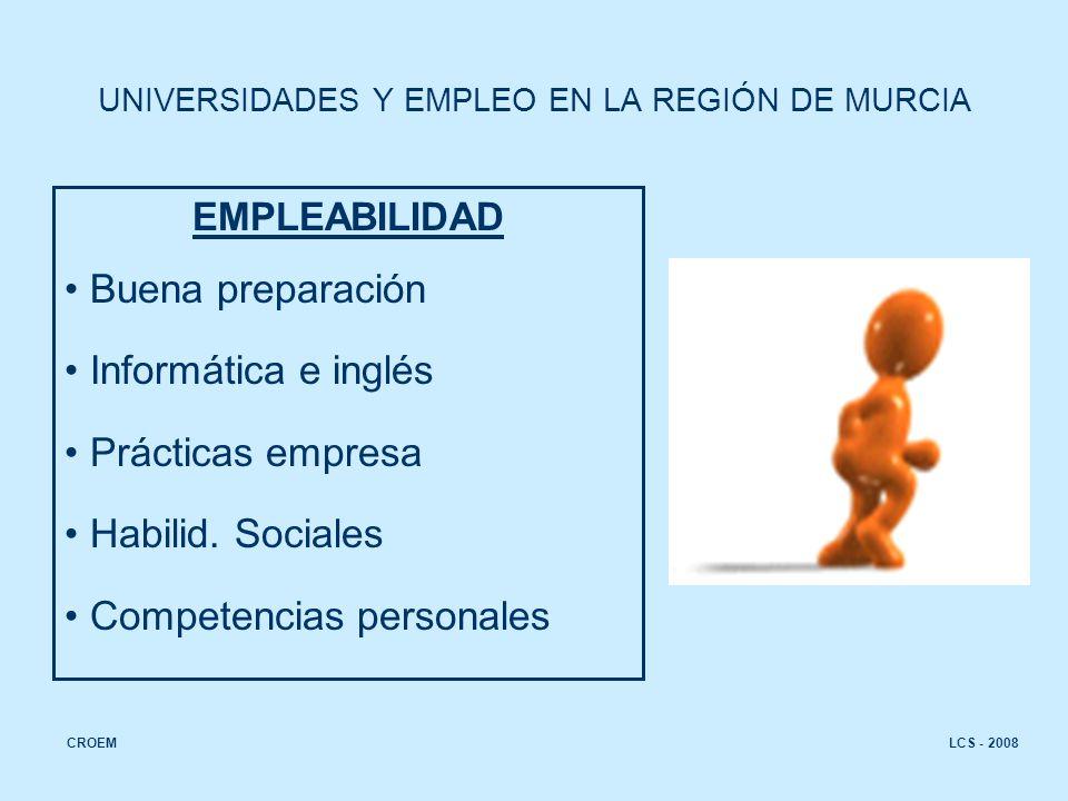 EMPLEABILIDAD Buena preparación Informática e inglés Prácticas empresa Habilid.