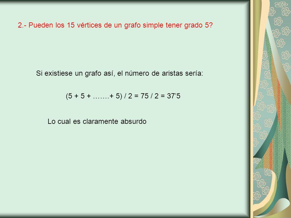 2.- Pueden los 15 vértices de un grafo simple tener grado 5.