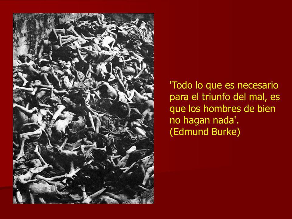 'Todo lo que es necesario para el triunfo del mal, es que los hombres de bien no hagan nada'. (Edmund Burke)