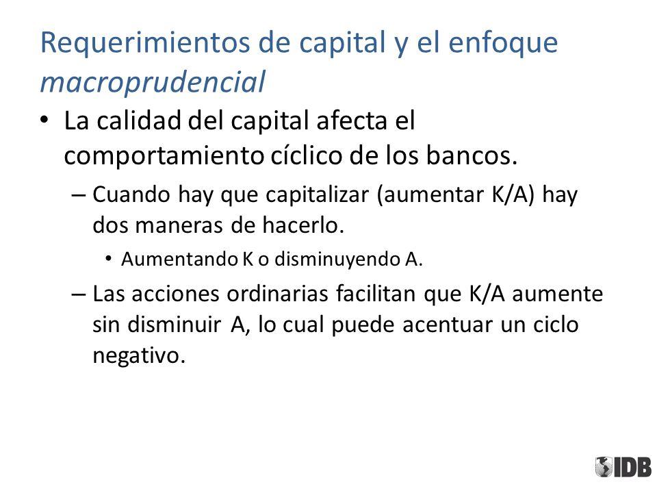 Requerimientos de capital y el enfoque macroprudencial La calidad del capital afecta el comportamiento cíclico de los bancos. – Cuando hay que capital