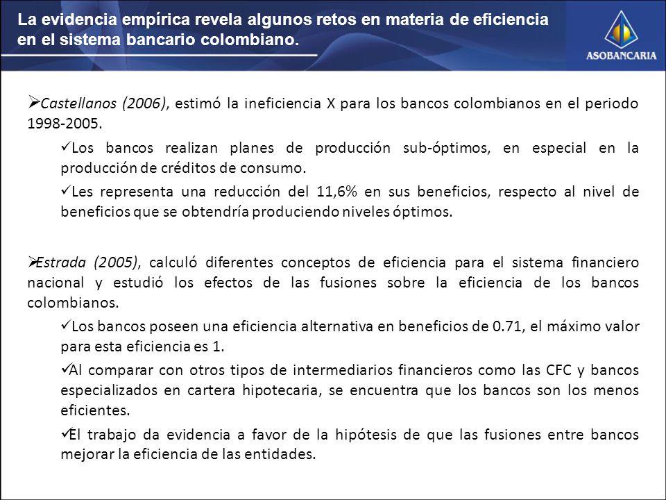 La evidencia empírica revela algunos retos en materia de eficiencia en el sistema bancario colombiano.
