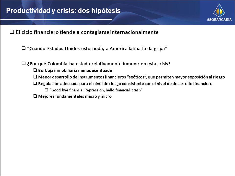 Productividad y crisis: dos hipótesis El ciclo financiero tiende a contagiarse internacionalmente Cuando Estados Unidos estornuda, a América latina le da gripa ¿Por qué Colombia ha estado relativamente inmune en esta crisis.