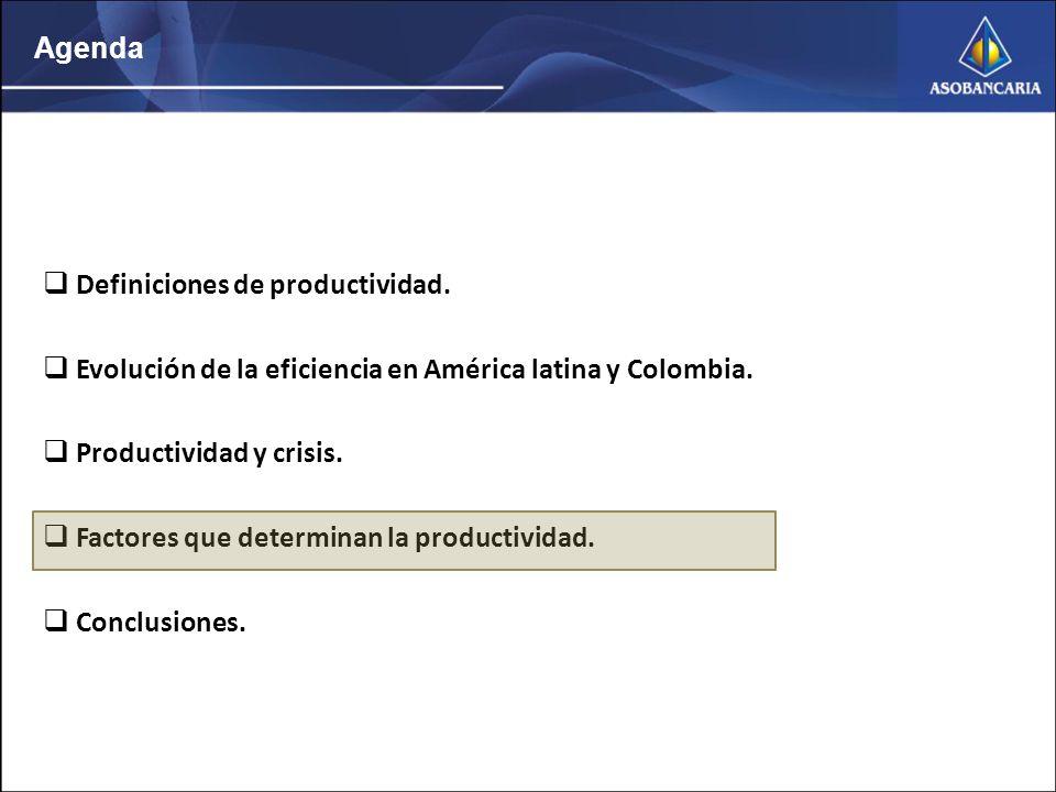 Agenda Definiciones de productividad. Evolución de la eficiencia en América latina y Colombia.