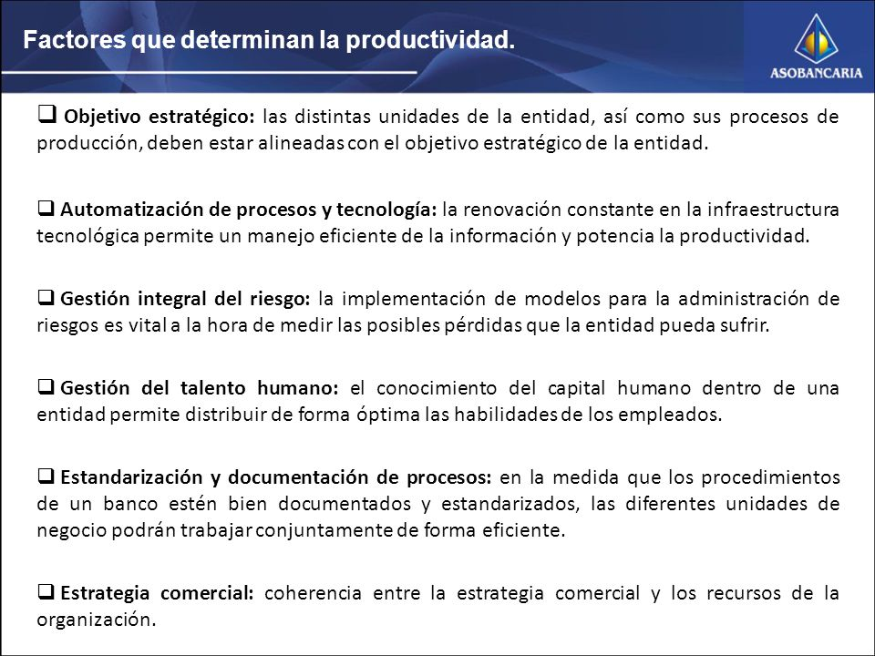 Factores que determinan la productividad.