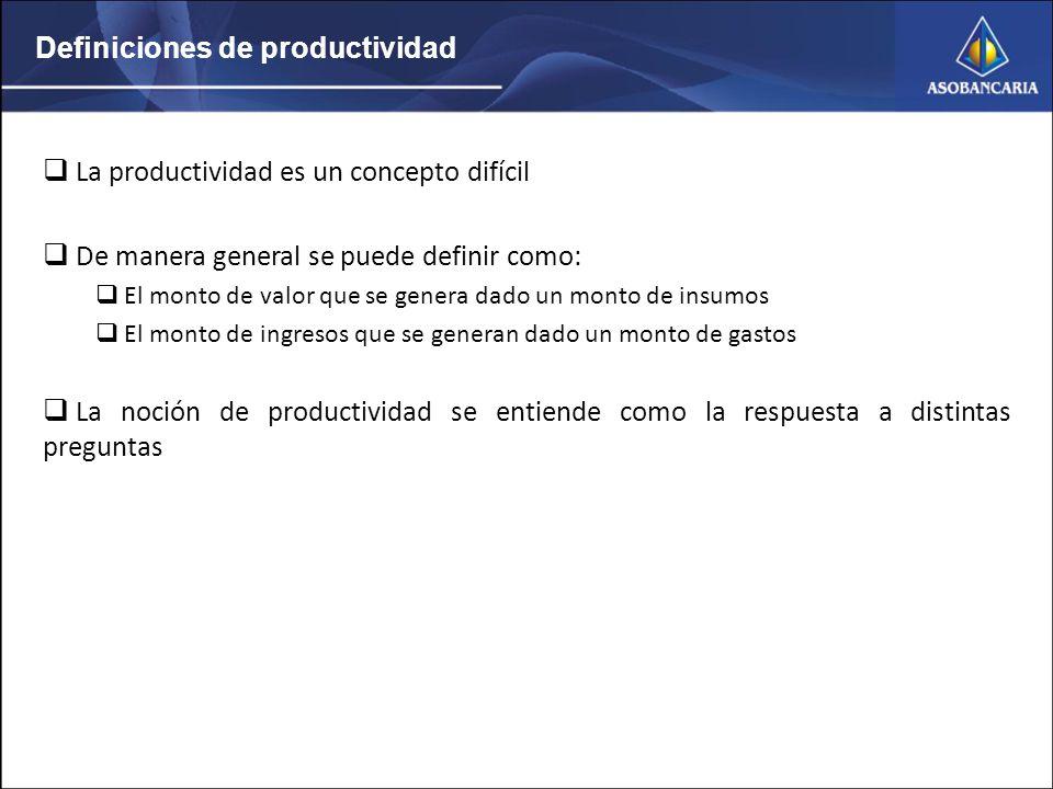 Definiciones de productividad La productividad es un concepto difícil De manera general se puede definir como: El monto de valor que se genera dado un monto de insumos El monto de ingresos que se generan dado un monto de gastos La noción de productividad se entiende como la respuesta a distintas preguntas