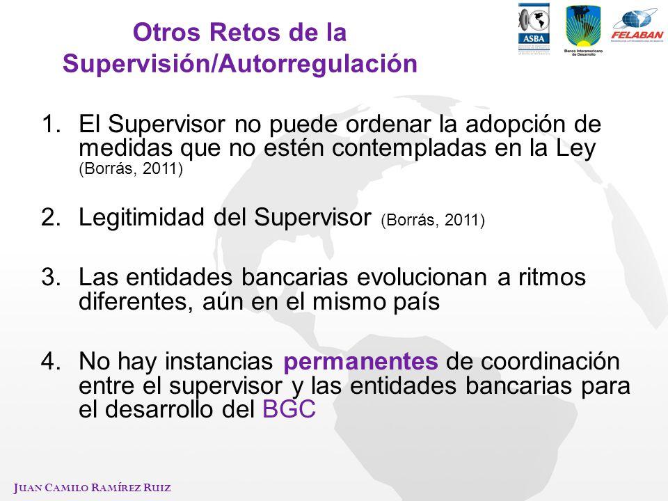 J UAN C AMILO R AMÍREZ R UIZ Otros Retos de la Supervisión/Autorregulación 1.El Supervisor no puede ordenar la adopción de medidas que no estén contem
