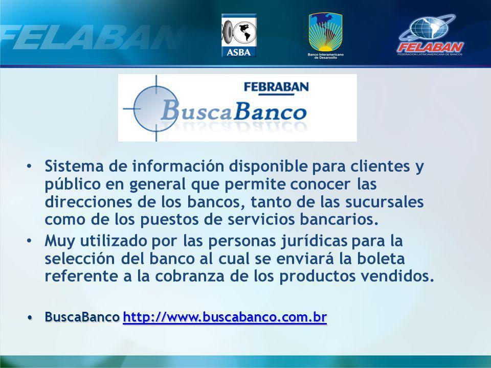 Sistema de información disponible para clientes y público en general que permite conocer las direcciones de los bancos, tanto de las sucursales como de los puestos de servicios bancarios.