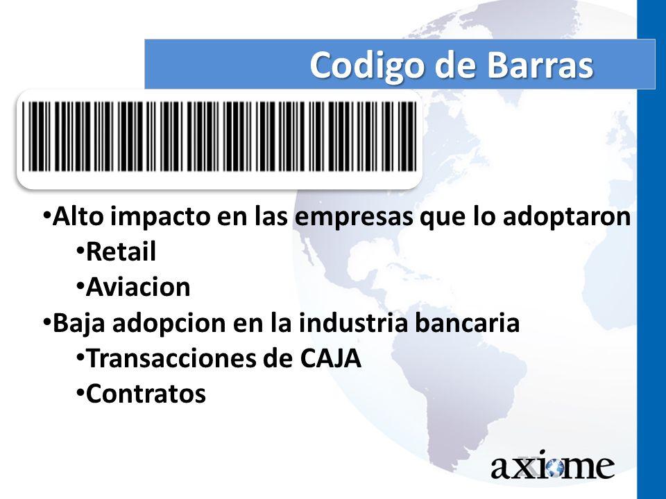 Codigo de Barras Alto impacto en las empresas que lo adoptaron Retail Aviacion Baja adopcion en la industria bancaria Transacciones de CAJA Contratos