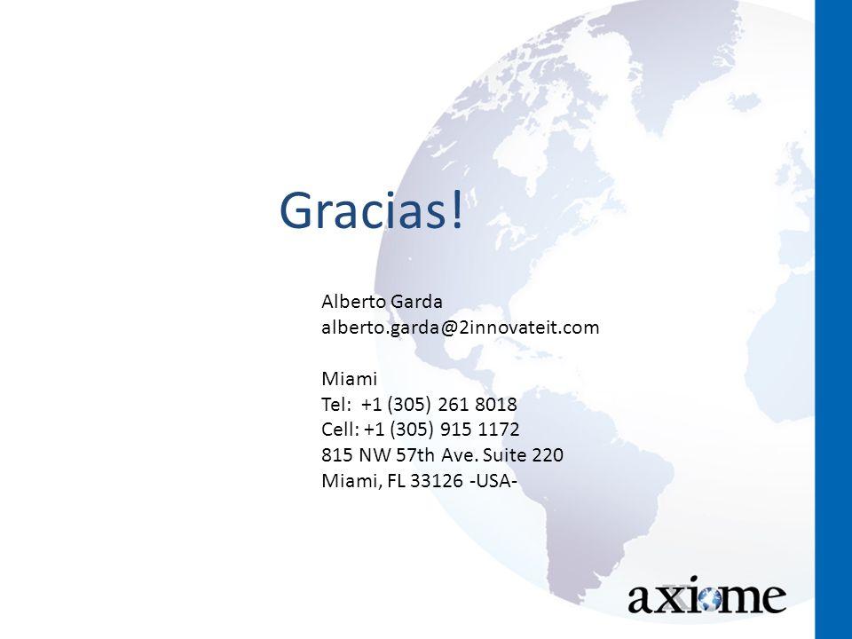 Alberto Garda alberto.garda@2innovateit.com Miami Tel: +1 (305) 261 8018 Cell: +1 (305) 915 1172 815 NW 57th Ave. Suite 220 Miami, FL 33126 -USA- Grac