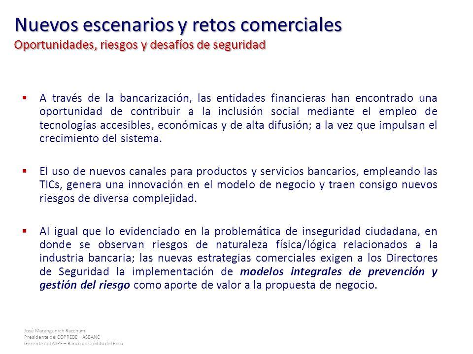 José Marangunich Racchumi Presidente del COPREDE – ASBANC Gerente del ASPF – Banco de Crédito del Perú A través de la bancarización, las entidades financieras han encontrado una oportunidad de contribuir a la inclusión social mediante el empleo de tecnologías accesibles, económicas y de alta difusión; a la vez que impulsan el crecimiento del sistema.