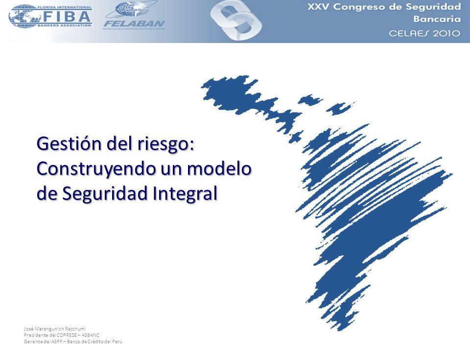 José Marangunich Racchumi Presidente del COPREDE – ASBANC Gerente del ASPF – Banco de Crédito del Perú Gestión del riesgo: Construyendo un modelo de Seguridad Integral