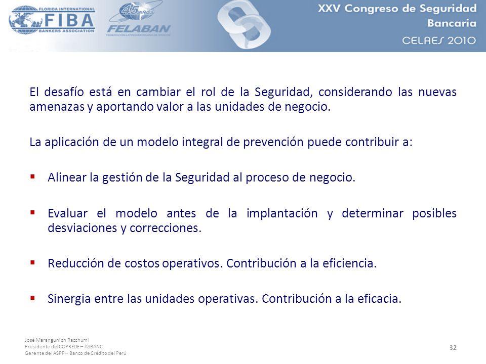 José Marangunich Racchumi Presidente del COPREDE – ASBANC Gerente del ASPF – Banco de Crédito del Perú El desafío está en cambiar el rol de la Seguridad, considerando las nuevas amenazas y aportando valor a las unidades de negocio.