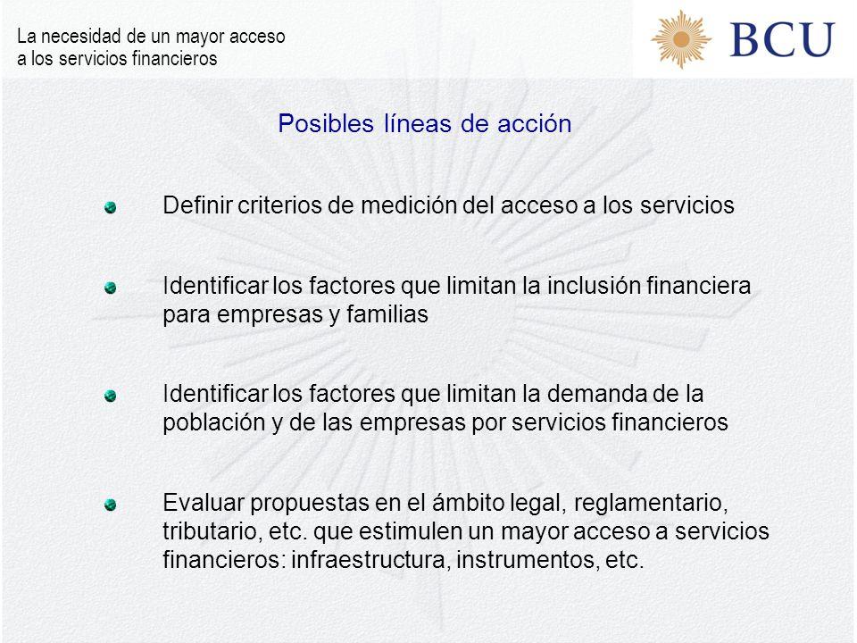 Definir criterios de medición del acceso a los servicios Identificar los factores que limitan la inclusión financiera para empresas y familias Identificar los factores que limitan la demanda de la población y de las empresas por servicios financieros Evaluar propuestas en el ámbito legal, reglamentario, tributario, etc.