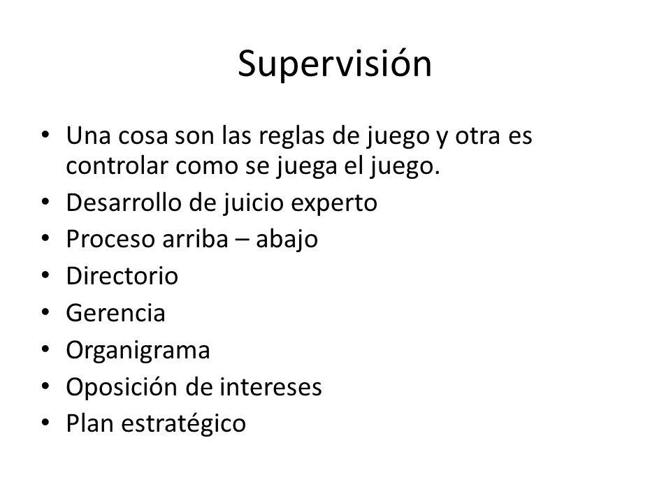 Supervisión Una cosa son las reglas de juego y otra es controlar como se juega el juego.