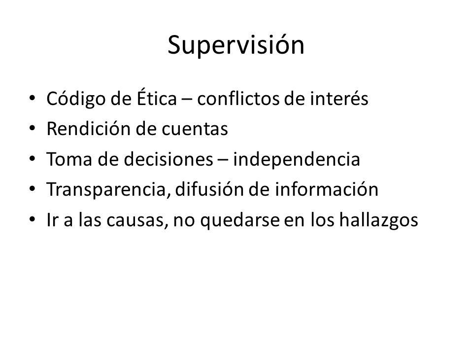 Supervisión Código de Ética – conflictos de interés Rendición de cuentas Toma de decisiones – independencia Transparencia, difusión de información Ir
