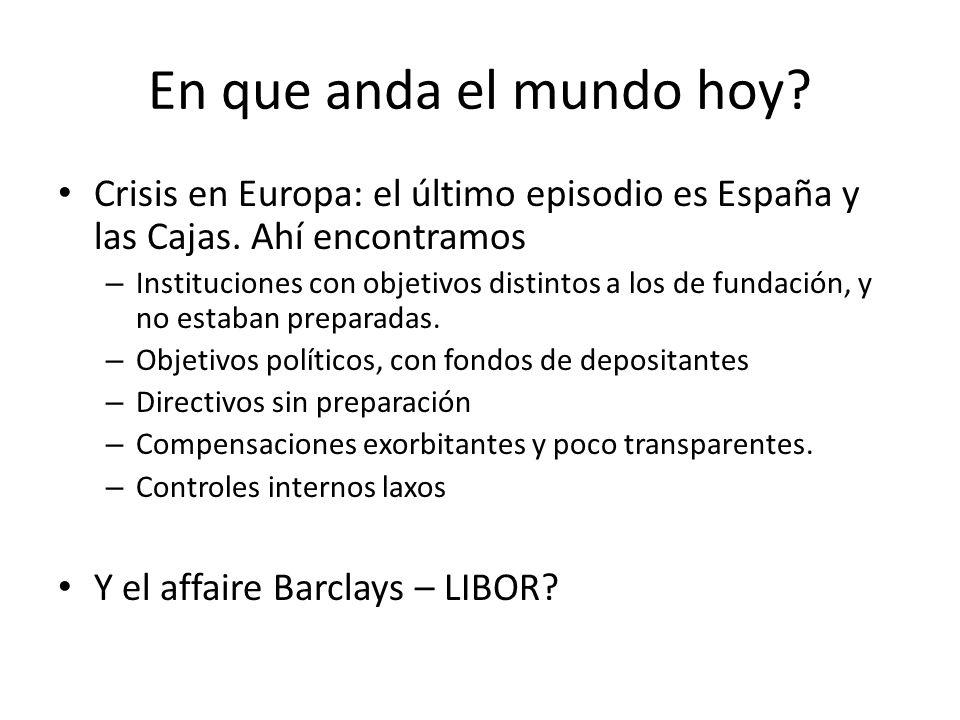 En que anda el mundo hoy? Crisis en Europa: el último episodio es España y las Cajas. Ahí encontramos – Instituciones con objetivos distintos a los de
