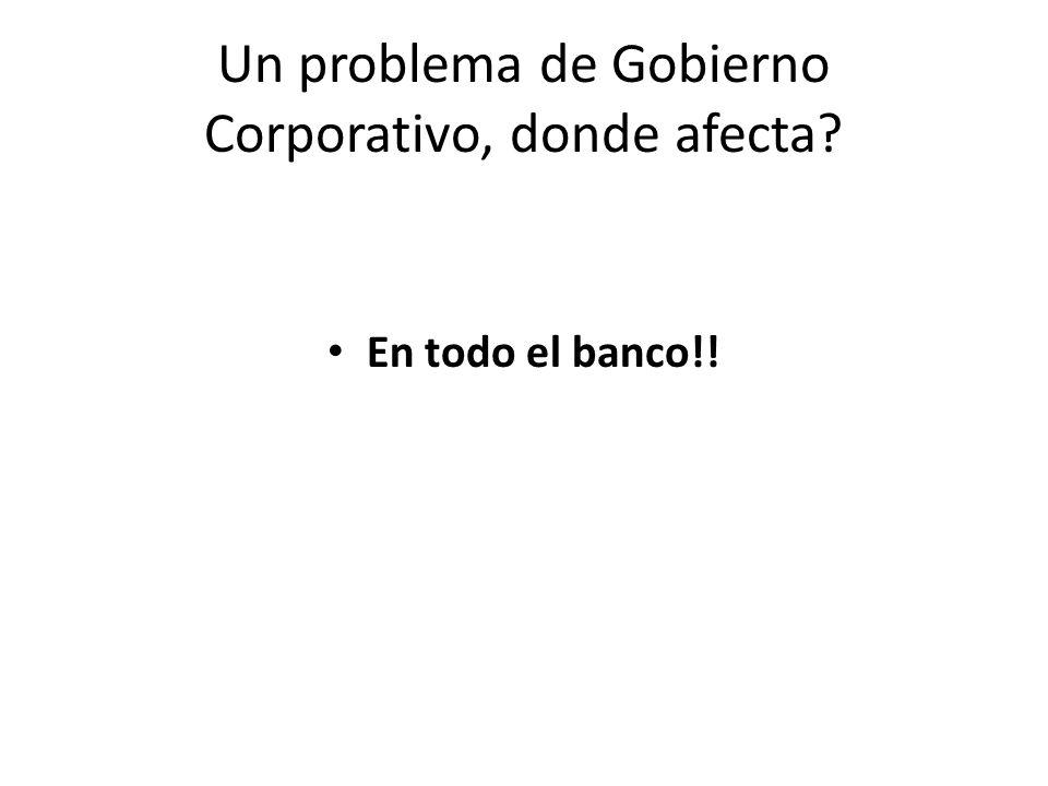 Un problema de Gobierno Corporativo, donde afecta? En todo el banco!!
