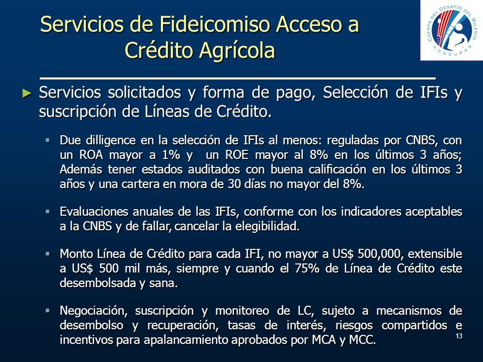 Servicios de Fideicomiso Acceso a Crédito Agrícola Servicios solicitados y forma de pago, Selección de IFIs y suscripción de Líneas de Crédito. Servic
