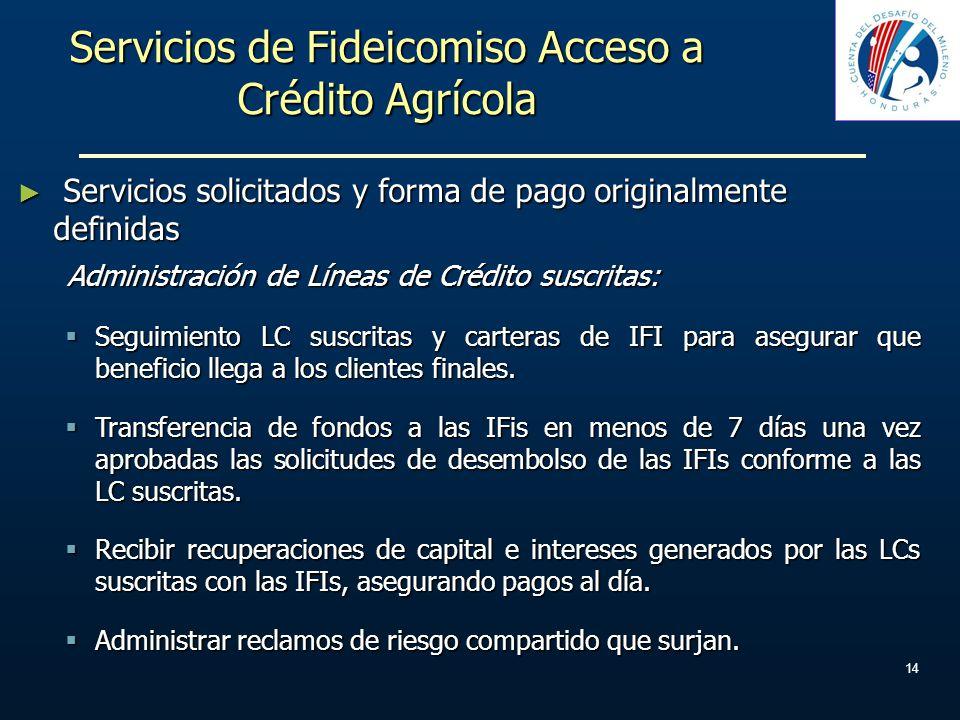 Servicios de Fideicomiso Acceso a Crédito Agrícola Servicios solicitados y forma de pago originalmente definidas Servicios solicitados y forma de pago