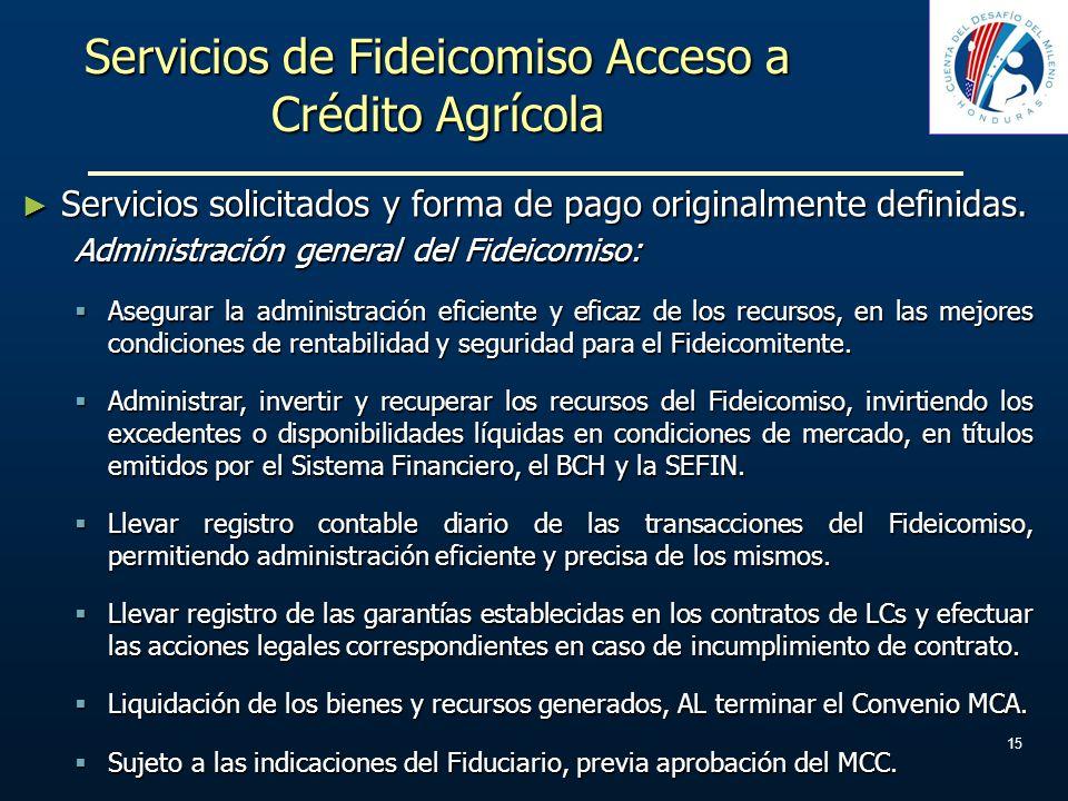 Servicios de Fideicomiso Acceso a Crédito Agrícola Servicios solicitados y forma de pago originalmente definidas. Servicios solicitados y forma de pag